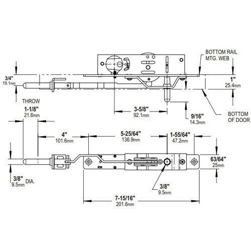 MS1861-02-603-IB Adams Rite Bottom Rail Deadlock (Swingbolt)