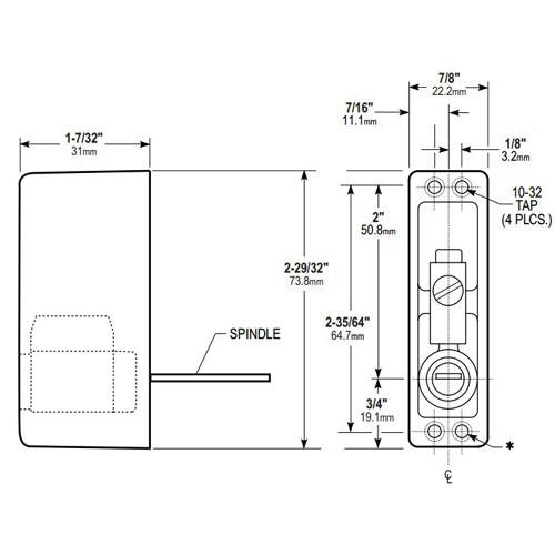 4025-06-130 Adams Rite Cylinder Pull