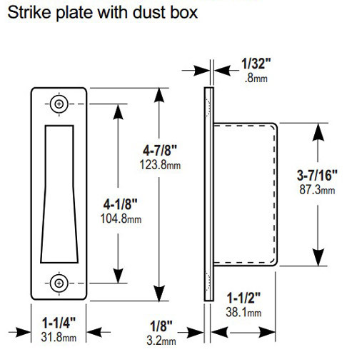 4006-011-630 Adams Rite Floor Strike for 1830 Bottom Rail Deadlock