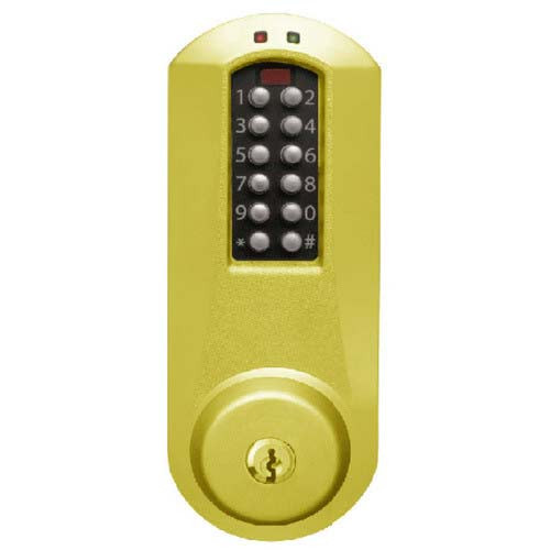 Eplex Pushbutton Lock in Bright Brass Finish