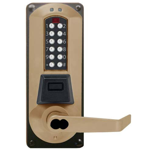 Eplex Pushbutton Lock in Dark Bronze with Brass Accents Finish