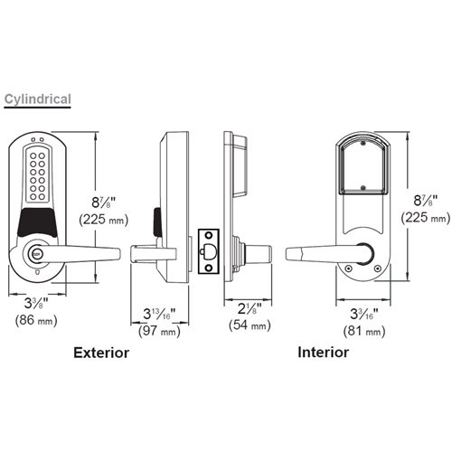 Eplex Pushbutton with Cylindrical Lock