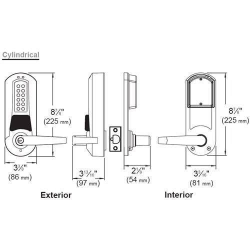 E5755CWK-626-41 Eplex Pushbutton Cylindrical Knob Dual Credential Lock and Corbin Core Override in Satin Chrome
