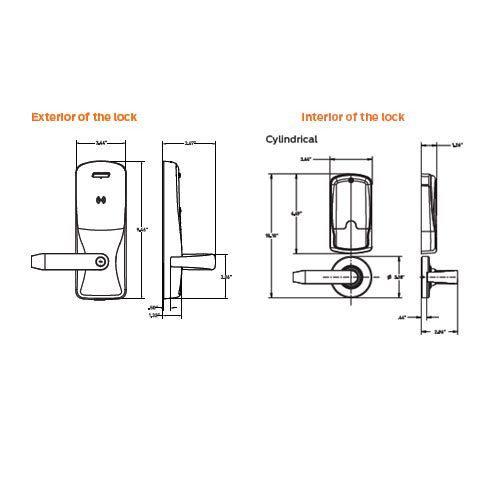 CO200-CY-40-MSK-TLR-GD-29R-605 Schlage Standalone Cylindrical Electronic Magnetic Stripe Reader Locks in Bright Brass