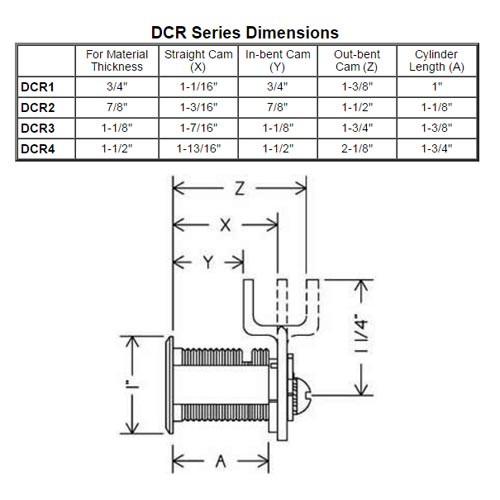 Olympus DCR3-KA4T2-26D R Series Keyed Alike Reversible Cam Lock in Satin Chrome