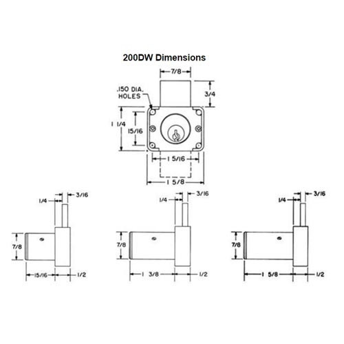 Olympus 200DW-KA107-26D-1-5/8 N Series Drawer Deadbolt Cabinet Locks in Satin Chrome