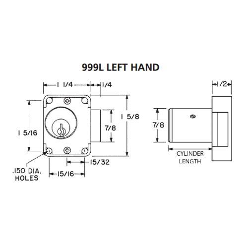 Olympus 999L-LH-KD-26D-1-3/8 N Series Left Handing Cabinet Door Latch Lock in Satin Chrome