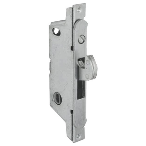 MS1847-02-630 Adams Rite MS Deadlock Radius Faceplate for Ultra-Narrow Stile Sliding Doors in Satin Stainless