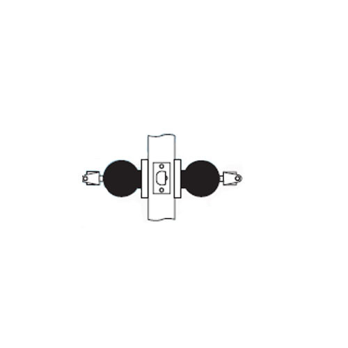 MK33-TA-10B Arrow Lock MK Series Cylindrical Locksets Double Cylinder for Asylum with TA Knob in Oil Rubbed Bronze