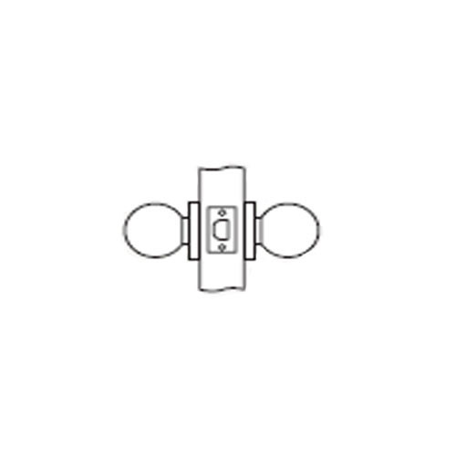MK01-BD-26D Arrow Lock MK Series Non Keyed Cylindrical Locksets for Passage with BD Knob in Satin Chromium
