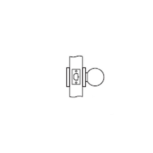 MK03-BD-03 Arrow Lock MK Series Non Keyed Cylindrical Locksets for Communicating Passage with BD Knob in Bright Brass