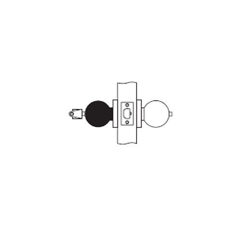 MK15-BD-26D Arrow Lock MK Series Cylindrical Locksets Single Cylinder for Hotel with BD Knob in Satin Chromium