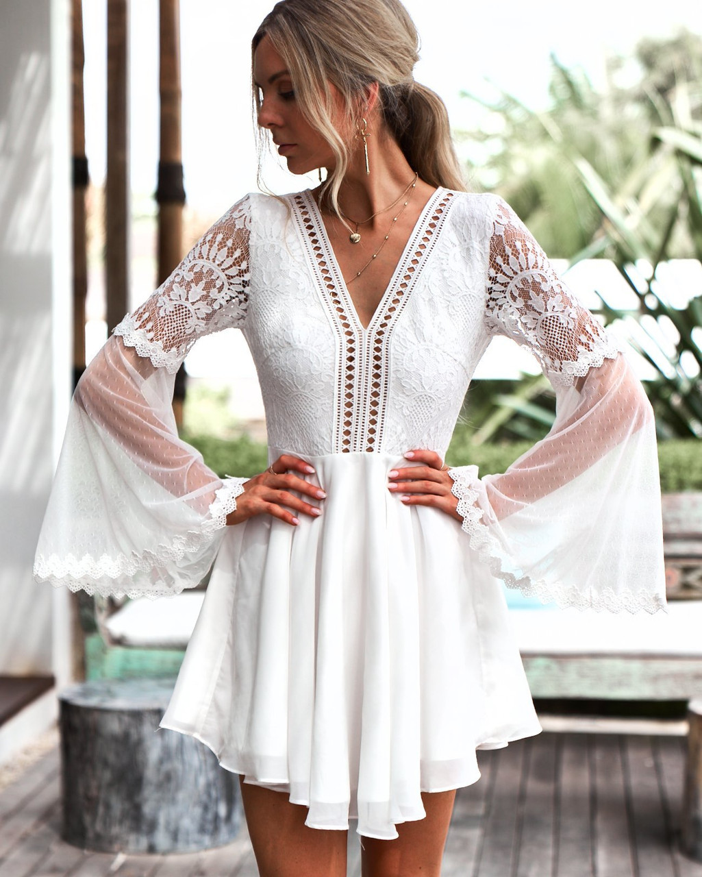 2ec9ca9276 The Bethany dress in White by Two Sisters the Label. White bell sleeve boho  dress