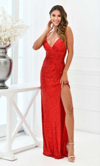 Eclipse Gown Red - LADY BLACK TIE