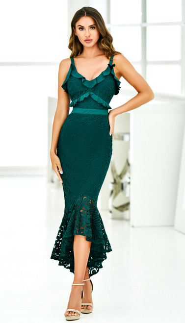 Leanne Midi Dress Emerald Green by Two Sisters The Label from Lady Black Tie