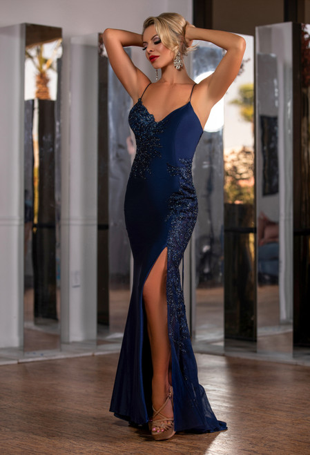 Lydia Satin Illusion lace gown - NAVY BLUE - LADY BLACK TIE