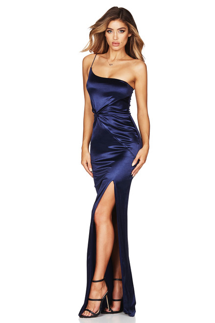 Tease Satin Gown Navy Blue by Nookie from Lady Black Tie