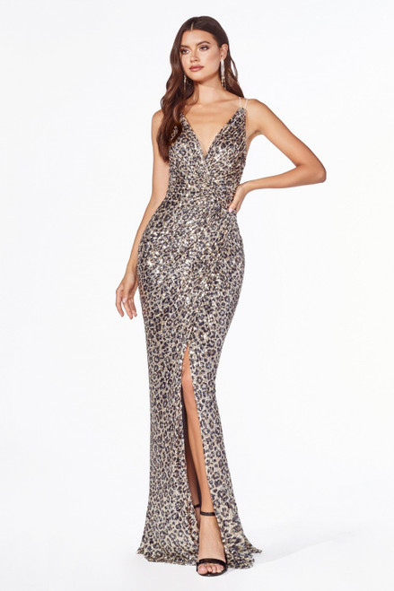 The Wild at Heart Sequins Gown Leopard by Lady Black Tie