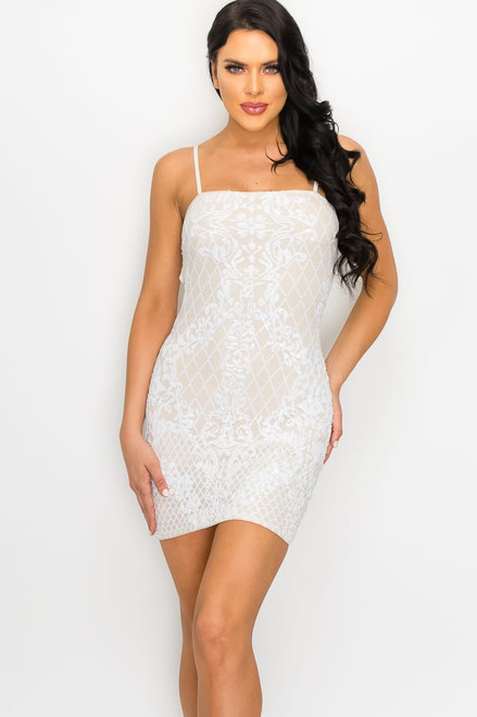 Milan Mini Dress - Ivory Nude