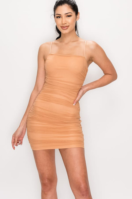 EDEN mesh ruched Mini Dress - Sand
