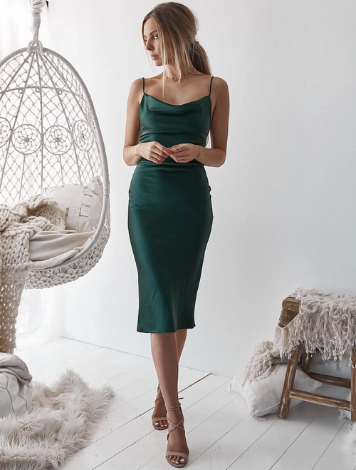 Aspen Midi Dress - Emerald Green Satin Cowl Neck Dress