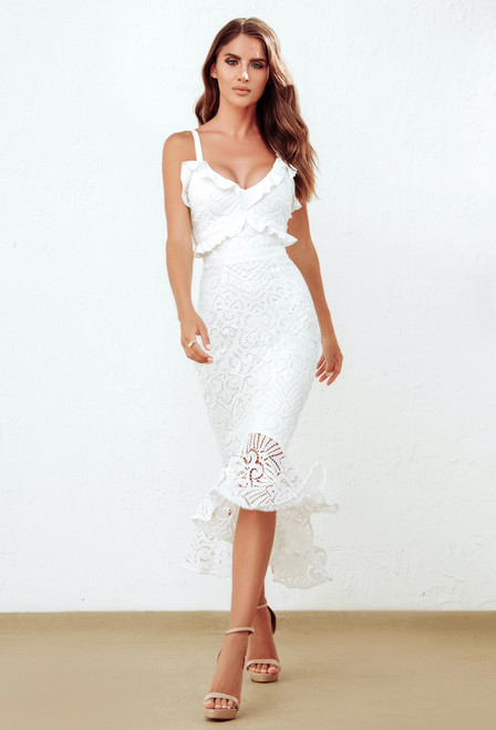 LEANNE MIDI DRESS - WHITE - white lace midi dress two sisters the label
