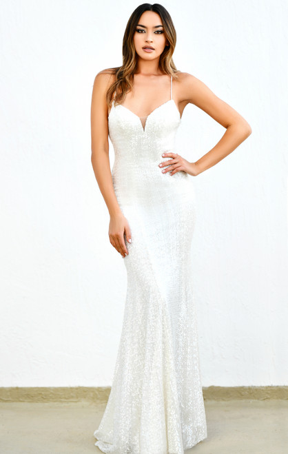 The Ellie Gown - Iridescent Sequin Gown in White