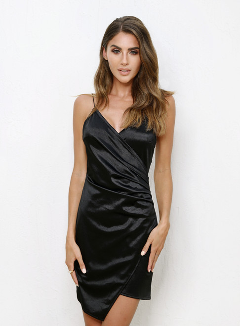 Blair Mini Dress - Black Satin