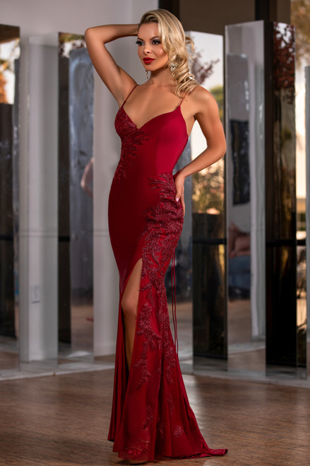 Lydia Satin Illusion Lace Gown - Burgundy - LADY BLACK TIE