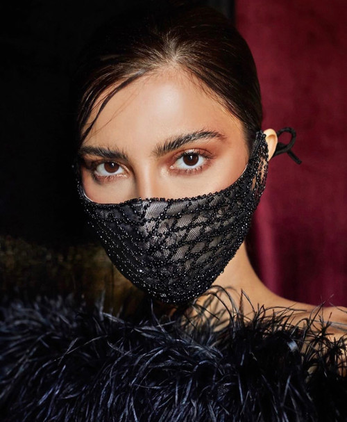 Black Beaded Face Mask - The Bernadette
