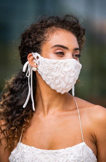 Rococo Ivory Beaded Face Mask | The Cosette