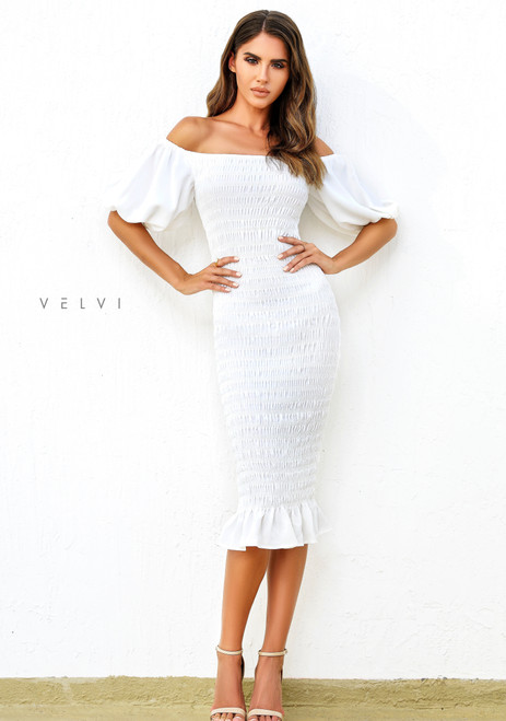 Skyla Shirred Midi Dress - WHITE - Velvi