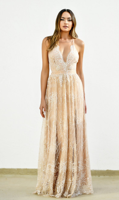 Celeste Glitter Maxi - Rose Gold - Lady Black Tie