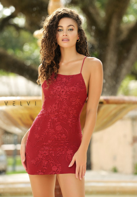 Quinn Mini Dress - Deep Red - Velvi