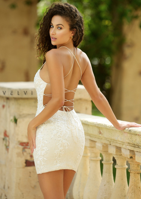 Dutchess Mini Dress, White on Nude, Velvi
