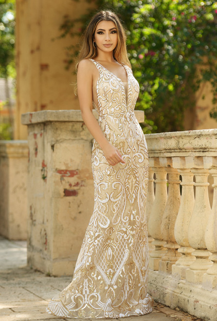 Jocelyn Gown - Gold/Off-White