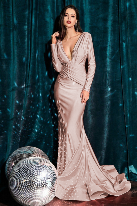 Britta Long Sleeve Gown - Dusty Rose