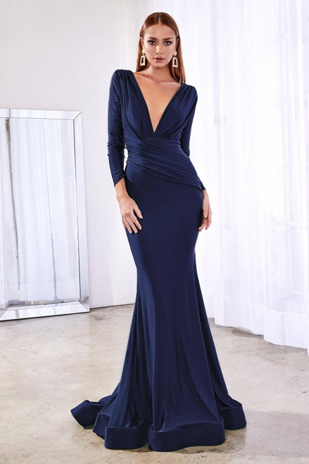 Britta long sleeve gown lady black tie - Navy