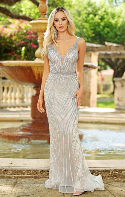Vanderbilt Gown - Silver on Nude - LADY BLACK TIE
