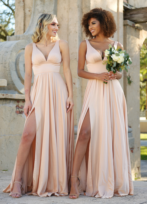 Kinsley Gown, Nude Color, Bridesmaid Dress, Lady Black Tie