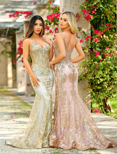 Lyra Gown- Rose Gold lady Black Tie