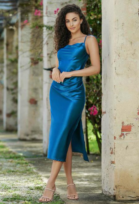 Lorena Midi Dress - French Navy - Lady Black Tie
