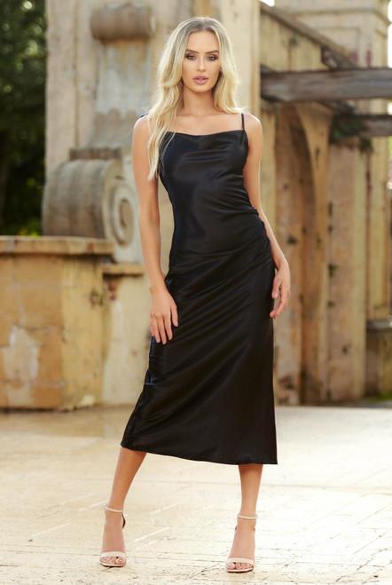 Lorena Midi Dress - Black - Lady Black Tie