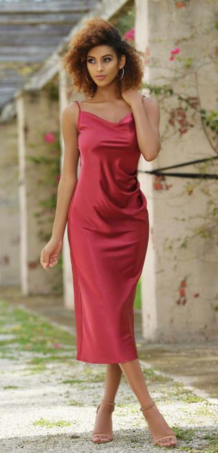 Lorena Midi Dress - Burgundy -  Lady Black Tie