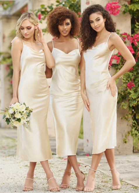 Lorena Midi Dress - Golden Champagne - Lady Black Tie