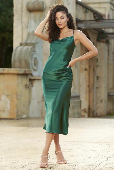 Lorena Midi Dress -  Emerald Green - Lady Black Tie