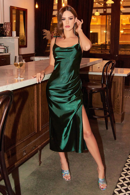 Lorena Midi Dress -  Emerald Green - Lady Black Tie