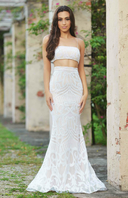Jeanette Two Piece Set - Crop and Skirt - White on Nude