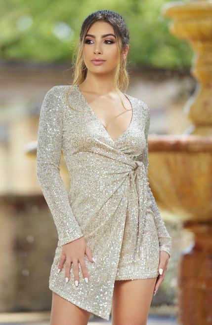 Laurel Long Sleeve Mini Dress - Platinum Sequin