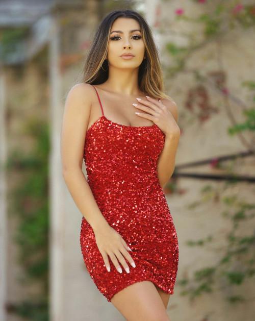 Juliette Sequin Mini Dress - Red - Lady Black Tie, Velvi